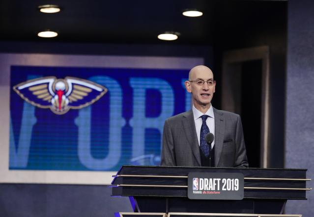 NBA Commissioner Adam Silver announces the New Orleans Pelicans' selection of Duke's Zion Williamson with the first pick in the NBA basketball draft Thursday, June 20, 2019, in New York. (AP Photo/Julio Cortez)