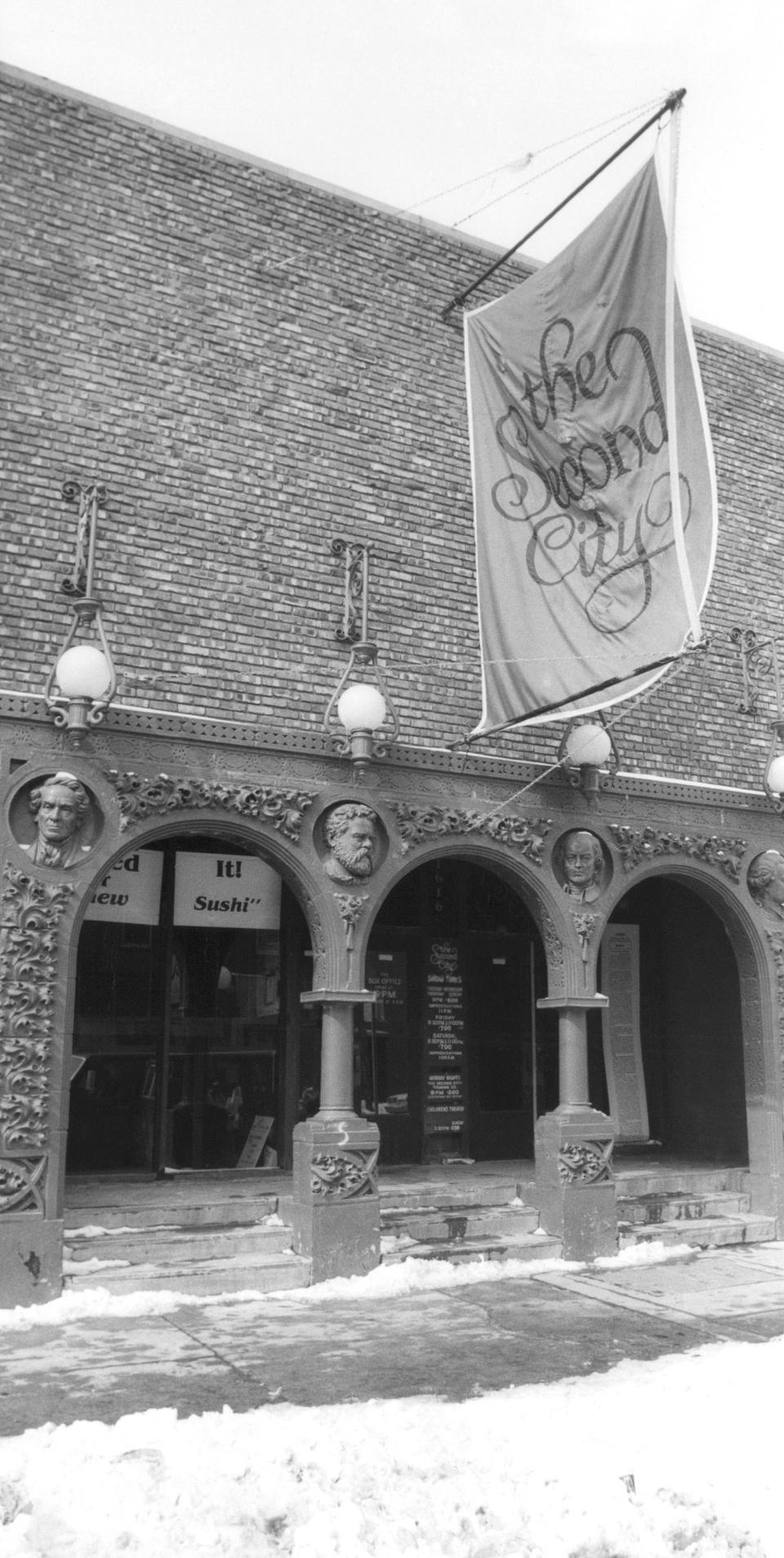 FILE - This March 6, 1982, file photo, shows the home of the famed improvisational troupe, Second City, in Chicago's Old Town section. Chicago's Second City comedy theater is up for sale. The sale, announced Tuesday, Oct. 6, 2020, is the second in the company's 60-year history. (AP Photo/Fred Jewell, File)