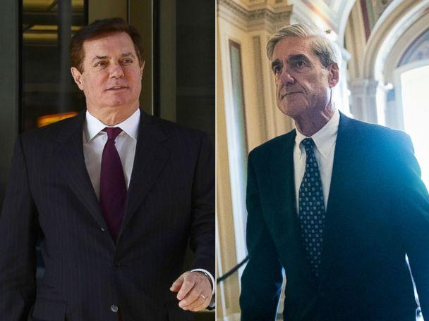 PHOTO: Paul Manafort departs federal court in Washington D.C., Dec. 11, 2017. Robert Mueller departs the Capitol after a closed-door meeting with members of the Senate Judiciary Committee about Russian meddling in the election, June 21, 2017. (AP)