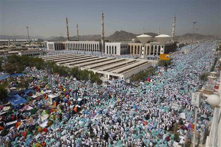 Muslim pilgrims gather near the Namera mosque on the plains of Arafat, near the holy city of Mecca