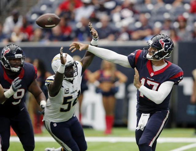 Brock Osweiler and the Texans are leading the AFC South, yet few are feeling comfortable with Houston's QB. (AP)