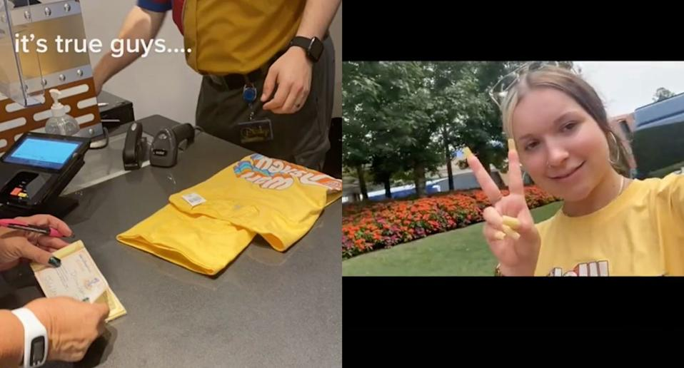 Alyssa Schuller was asked to change into a free T-shirt by a Disney World employee (Images via TikTok/AlyssaSchuller.