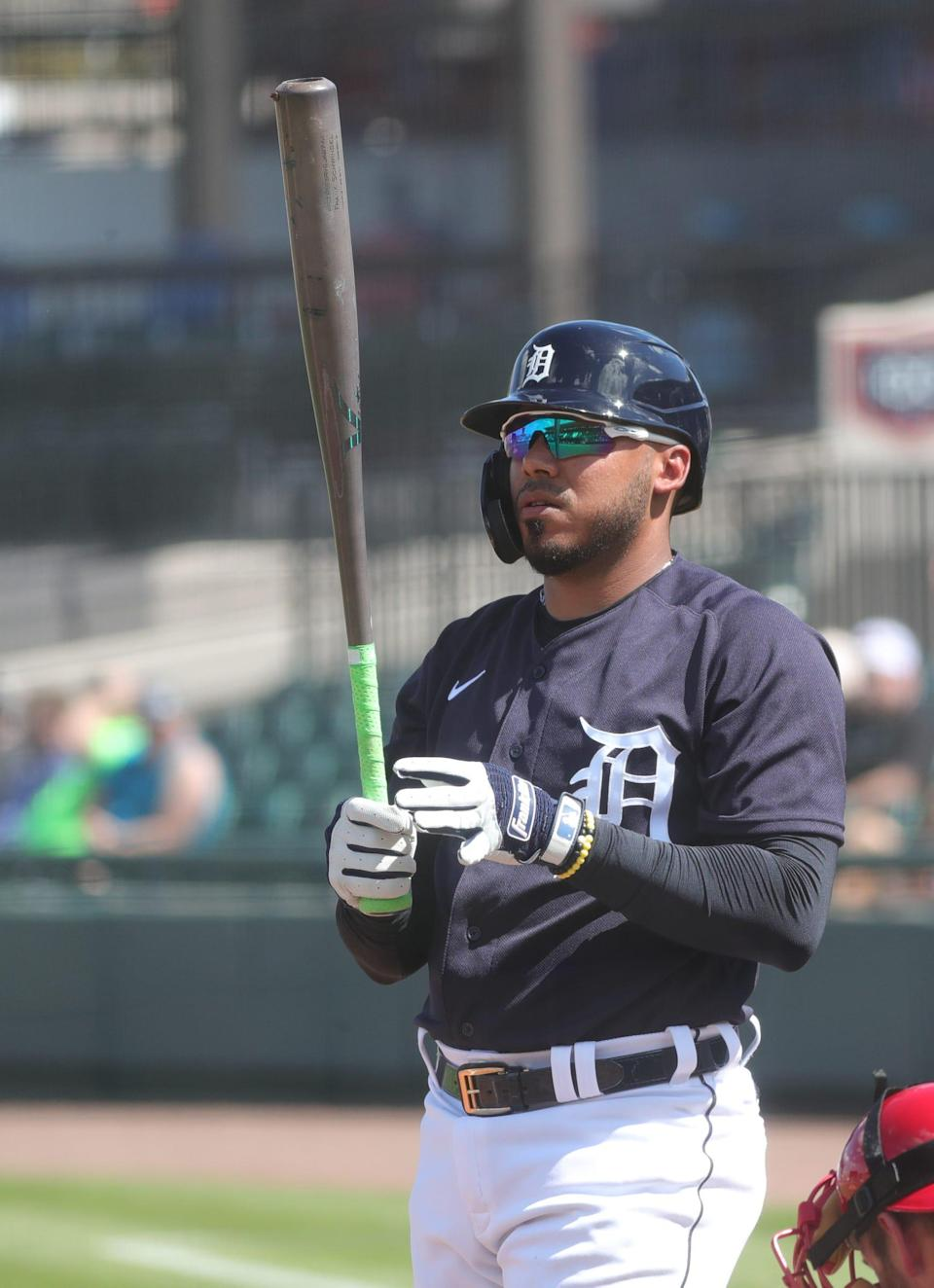 Detroit Tigers' Harold Castro bats against the Phillies during Grapefruit League action Sunday, Feb. 28, 2021 in Lakeland, Fla.