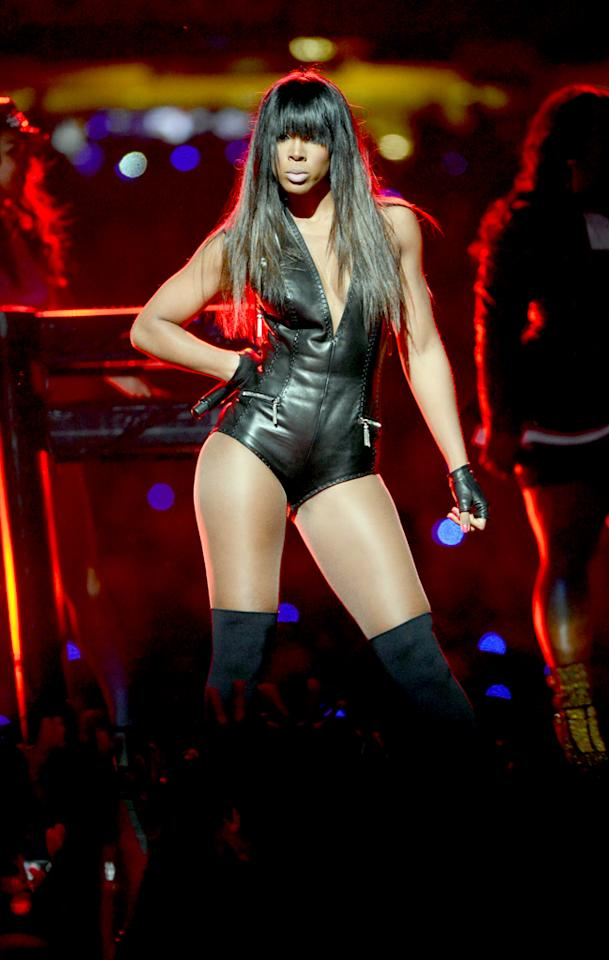 NEW ORLEANS, LA - FEBRUARY 03:  Singer Kelly Rowland of Destinys Child performs during the Pepsi Super Bowl XLVII Halftime Show at Mercedes-Benz Superdome on February 3, 2013 in New Orleans, Louisiana.  (Photo by Kevin Mazur/WireImage)