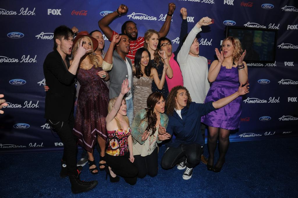 "The ""<a href=""http://tv.yahoo.com/american-idol/show/34934"">American Idol</a>"" Top 13 finalists attend a party in their honor on Thursday, March 1 at The Grove in Los Angeles, CA."