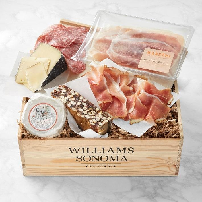 "Make your mom's day with Williams Sonoma's cheese and charcuterie box and a <a href=""https://www.glamour.com/gallery/best-wine-subscriptions?mbid=synd_yahoo_rss"" rel=""nofollow noopener"" target=""_blank"" data-ylk=""slk:bottle of wine"" class=""link rapid-noclick-resp"">bottle of wine</a>. The brand curated a hub full of great gifts, all of which will arrive in time if ordered by 11 pm PT on May 3. $120, Williams Sonoma. <a href=""https://www.williams-sonoma.com/products/williams-sonoma-gift-crate-european-cheese-and-charcuterie/?cm_src=AutoRel"" rel=""nofollow noopener"" target=""_blank"" data-ylk=""slk:Get it now!"" class=""link rapid-noclick-resp"">Get it now!</a>"