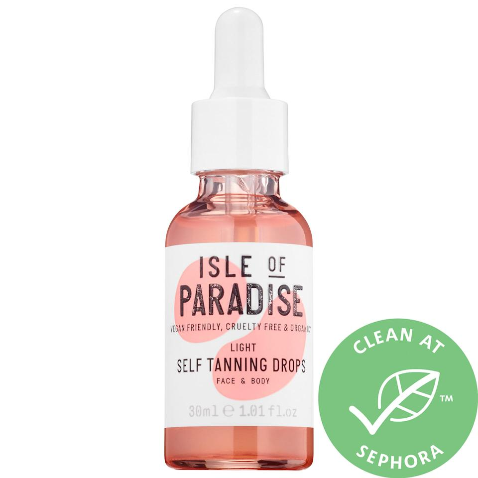 """<h3>Isle Of Paradise Self Tanning Drops<br></h3><br><strong>The Choose-Your-Own-Adventure Self Tanner</strong><br><br>Isle of Paradise's Self Tanning Drops come in three shades for a variety of skin tones. You can mix them into your favorite moisturizer for a DIY glow. Oh, and did we mention they're 100% vegan and organic?<br><br><strong>The Hype:</strong> 4.1 out of 5 stars and 826 reviews on <a href=""""https://www.sephora.com/product/self-tanning-drops-P431180?skuId=2078335"""" rel=""""nofollow noopener"""" target=""""_blank"""" data-ylk=""""slk:Sephora"""" class=""""link rapid-noclick-resp"""">Sephora</a><br><br><strong>Reviwers Say: </strong>""""Love this concept! I love being able to add these drops to my normal skincare routine in the morning or at night. The scent is pleasant and doesn't trigger those """"self tanner"""" ptsd thoughts. I normally use 3 drops, about twice per week, to give me a natural looking glow. BEWARE OF ORANGE HANDS!! You'll need to wash your hands at least twice after applying to avoid a pretty intense color transfer onto your hands. (Insider tip: Warm up your moisturizer in both hands before adding the drops to mix. This will create a bit more of a barrier to skin on your palms)"""" — SaritaGatita, Sephora Reviewer<br><br><strong>Isle Of Paradise</strong> Self Tanning Drops, $, available at <a href=""""https://go.skimresources.com/?id=30283X879131&url=https%3A%2F%2Fwww.sephora.com%2Fproduct%2Fself-tanning-drops-P431180%3FskuId%3D2078335"""" rel=""""nofollow noopener"""" target=""""_blank"""" data-ylk=""""slk:Sephora"""" class=""""link rapid-noclick-resp"""">Sephora</a>"""