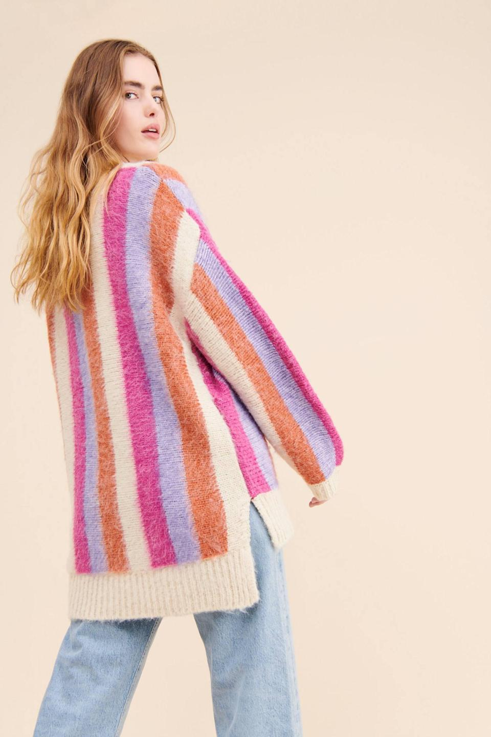 """<br><br><strong>Moon River Anthropologie</strong> Striped High Low Sweater, $, available at <a href=""""https://go.skimresources.com/?id=30283X879131&url=https%3A%2F%2Fwww.anthropologie.com%2Fshop%2Fmoon-river-striped-high-low-sweater"""" rel=""""nofollow noopener"""" target=""""_blank"""" data-ylk=""""slk:Anthropologie"""" class=""""link rapid-noclick-resp"""">Anthropologie</a>"""