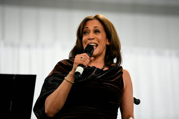 California Sen. Kamala Harris appears at a fundraiser for Alpha Kappa Alpha sorority, of which she is a member,  on Jan. 25, 2019, in Columbia, S.C.