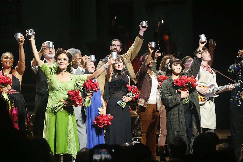 <p>Alongside the show's director, Rachel Chavkin, the company raised a cup — as they usually do at the end of each show — but this time with a whole new reason to celebrate. </p>