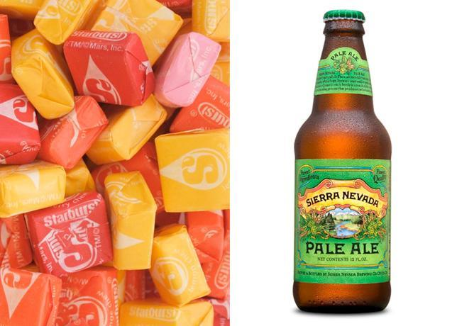 """<div class=""""caption-credit""""> Photo by: Bon Appetit</div><b>Starbursts & Sierra Nevada Pale Ale</b> <p> What happens when a classic, slightly hoppy pale ale meets chewy fruity Starburst squares? A happy collision of hops-which come across as citrus, pine, and a touch of bitterness-and those reassuringly faux-fruit flavors we know so well. The match up makes the candy less sweet and more intriguing. While a hoppier IPA will downplay the sweetness even more, we prefer this balanced pale ale for a bit of malty pause. </p> <p> <b>See more:</b> <br> <b><span>7 Most Common French Toast Mistakes <br></span></b> <b><a rel=""""nofollow noopener"""" href=""""http://www.bonappetit.com/recipes/slideshow/25-ways-to-use-sriracha?slide=1?mbid=synd_yshine"""" target=""""_blank"""" data-ylk=""""slk:25 Ways to Use Sriracha"""" class=""""link rapid-noclick-resp"""">25 Ways to Use Sriracha</a></b> <br> </p>"""