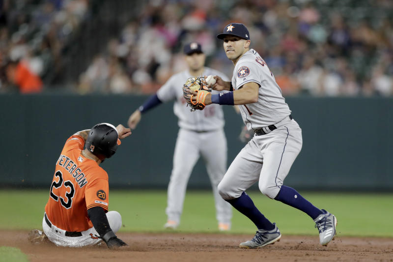 Houston Astros shortstop Carlos Correa, right, turns a double play as Baltimore Orioles' Jace Peterson (23) slides on a ball hit by Chance Sisco during the sixth inning of a baseball game Saturday, Aug. 10, 2019, in Baltimore. (AP Photo/Julio Cortez)