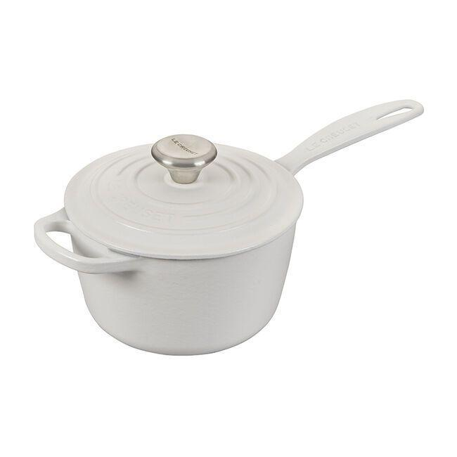 """<p><strong>Le Creuset </strong></p><p>lecreuset.com</p><p><a href=""""https://go.redirectingat.com?id=74968X1596630&url=https%3A%2F%2Fwww.lecreuset.com%2Fsignature-saucepan-factory-to-table-sale-cotton%2FLS2518-16MWSS.html&sref=https%3A%2F%2Fwww.goodhousekeeping.com%2Flife%2Fmoney%2Fg33563225%2Fle-creuset-factory-sale-august-2020%2F"""" rel=""""nofollow noopener"""" target=""""_blank"""" data-ylk=""""slk:Shop Now"""" class=""""link rapid-noclick-resp"""">Shop Now</a></p><p><del>$190</del><strong><br>$114</strong></p><p>Whether you want to heat up your favorite brand of marinara or make some sauce from scratch, you'll get a lot of mileage out of this pan. </p>"""