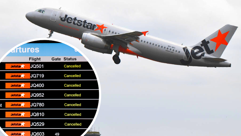 A Jetstar plane in flight and a departures board of cancelled Jetstar flights