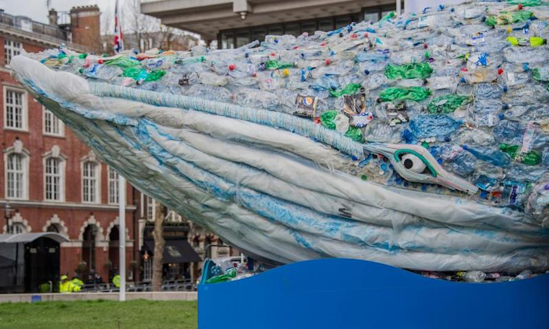 Pass on the Plastic whale sculpture, an environmental message to reduce waste and pollution.