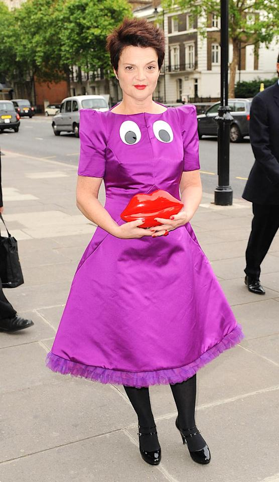 "British handbag designer Lulu Guinness's lips clutch is cute; however, her homemade Grimace-inspired frock is downright frightening. Hopefully her date wasn't dressed as the Hamburglar. Ferdaus Shamim/<a href=""http://www.wireimage.com"" target=""new"">WireImage.com</a> - June 8, 2009"