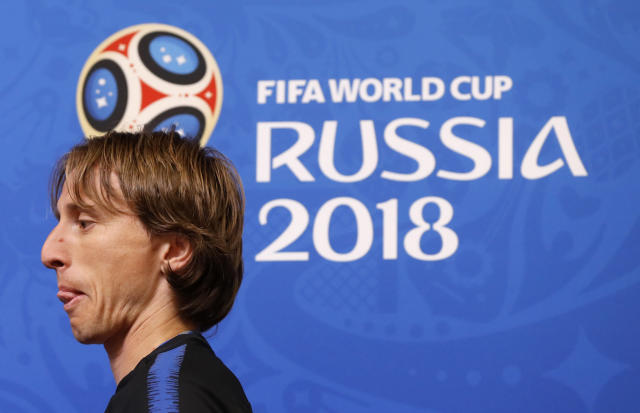 Croatia's Luka Modric arrives for a press conference on the eve of the group D match between Croatia and Nigeria at the 2018 soccer World Cup in the Kaliningrad Stadium in Kaliningrad, Russia, Friday, June 15, 2018. (AP Photo/Petr David Josek)