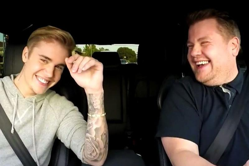 Justin Bieber and James Corden in a 2015 Carpool Karaoke episode: YouTube/CBS