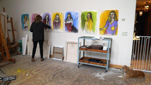 Maria Farmer is seen here working on seven portraits for her series, 'The Survivors Project.' (ABC News)