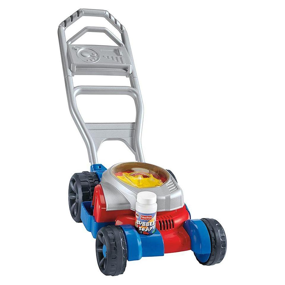 """<p><strong>Fisher-Price</strong></p><p>amazon.com</p><p><strong>$34.23</strong></p><p><a href=""""https://www.amazon.com/dp/B00MVV114A?tag=syn-yahoo-20&ascsubtag=%5Bartid%7C2089.g.37090434%5Bsrc%7Cyahoo-us"""" rel=""""nofollow noopener"""" target=""""_blank"""" data-ylk=""""slk:Shop Now"""" class=""""link rapid-noclick-resp"""">Shop Now</a></p><p>This is the very toy mower that my son had, and he was absolutely crazy about it. It's easy to set up — you just pour bubble solution into the reservoir, and you're good to go. Once your little one pushes the mower, the action causes the mower to emit the bubbles — no batteries required!</p>"""