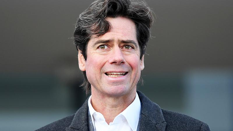 Gillon McLachlan, pictured here speaking to the media in Melbourne.