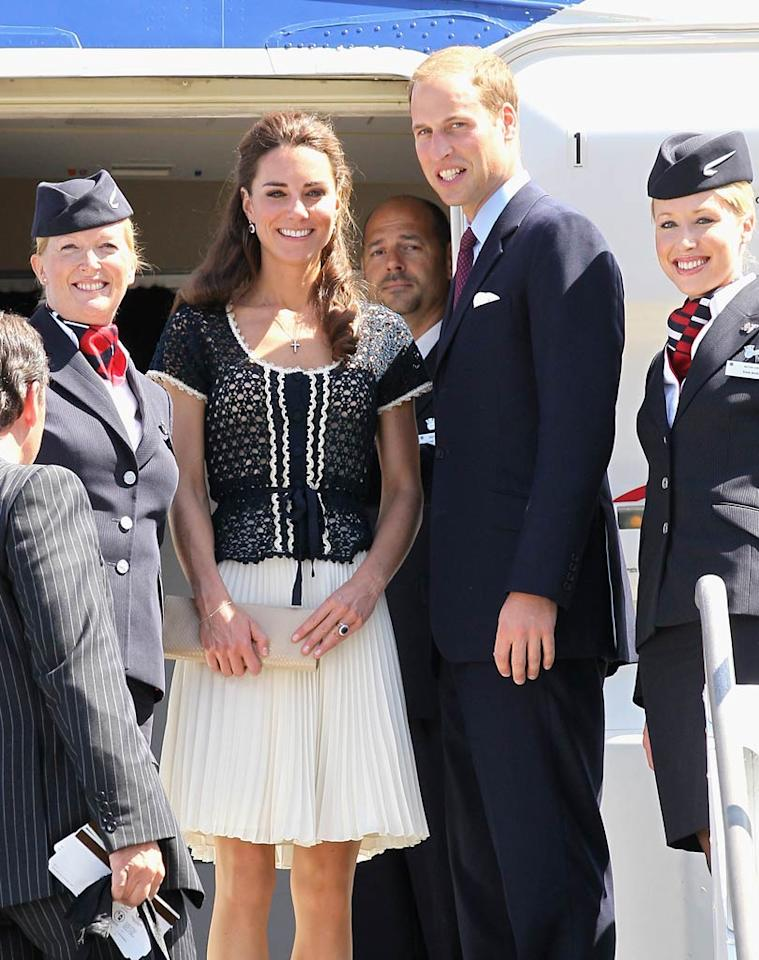 """Prince William and his new bride, Catherine, Duchess of Cambridge, waved goodbye at Los Angeles International Airport on Sunday after a whirlwind tour of North America -- nine days in Canada and a weekend in California, which included some Hollywood A-list hobnobbing. Chris Jackson/<a href=""""http://www.gettyimages.com/"""" target=""""new"""">GettyImages.com</a> - July 10, 2011"""