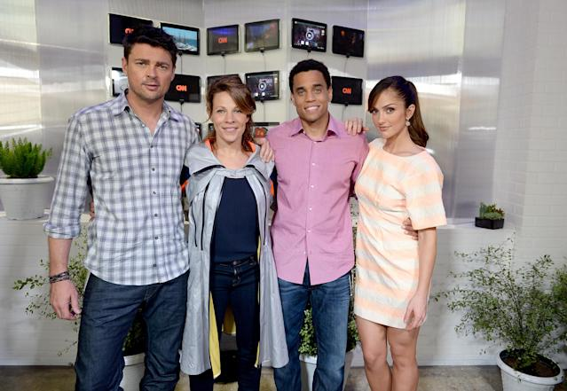 "SAN DIEGO, CA - JULY 19: (L-R) Actors Karl Urban, Lili Taylor, Michael Ealy and Minka Kelly from the cast of ""Almost Human"" attend Day 2 of The Samsung Galaxy Experience on July 19, 2013 in San Diego, California. (Photo by Michael Buckner/Getty Images for Samsung)"