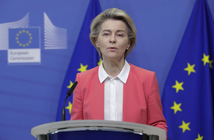 European Commission President Ursula von der Leyen delivers a statement at the EU headquarters in Brussels, Sunday, Dec. 13, 2020. Britain and the European Union say talks will continue on a free trade agreement — a deal that if sealed would avert New Year's chaos for cross-border traders and bring a measure of certainty for businesses after years of Brexit turmoil. (Olivier Hoslet/Pool Photo via AP)