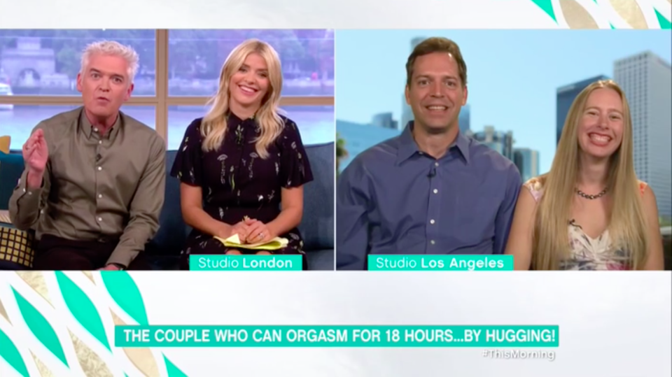 This couple appeared on This Morning to explain about their 18 hour orgasm [Photo: ITV/This Morning]