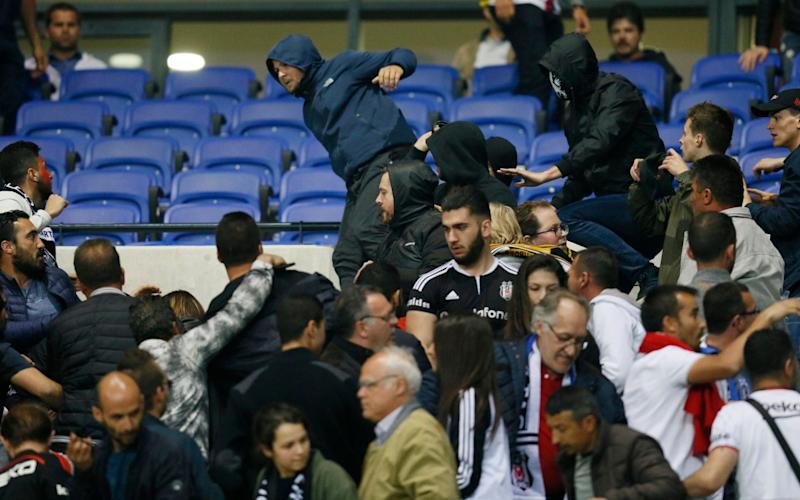 Violence in the Besiktas end - Credit: Robert Pratta/Reuters