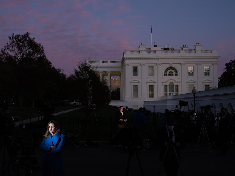 """Press outside of the White House the eve of the election, Nov. 3<span class=""""copyright"""">Peter van Agtmael—Magnum Photos for TIME</span>"""