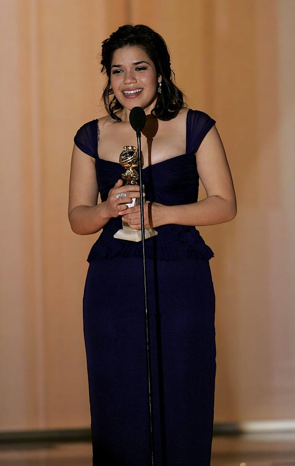 "Beautiful TV newcomer <a href=""/america-ferrera/contributor/1126510"">America Ferrera</a> wins Best Actress for her performance in ""<a href=""/ugly-betty/show/35332"">Ugly Betty</a>"" at <a href=""/the-64th-annual-golden-globe-awards/show/40075""> the 64th annual Golden Globe Awards</a>."