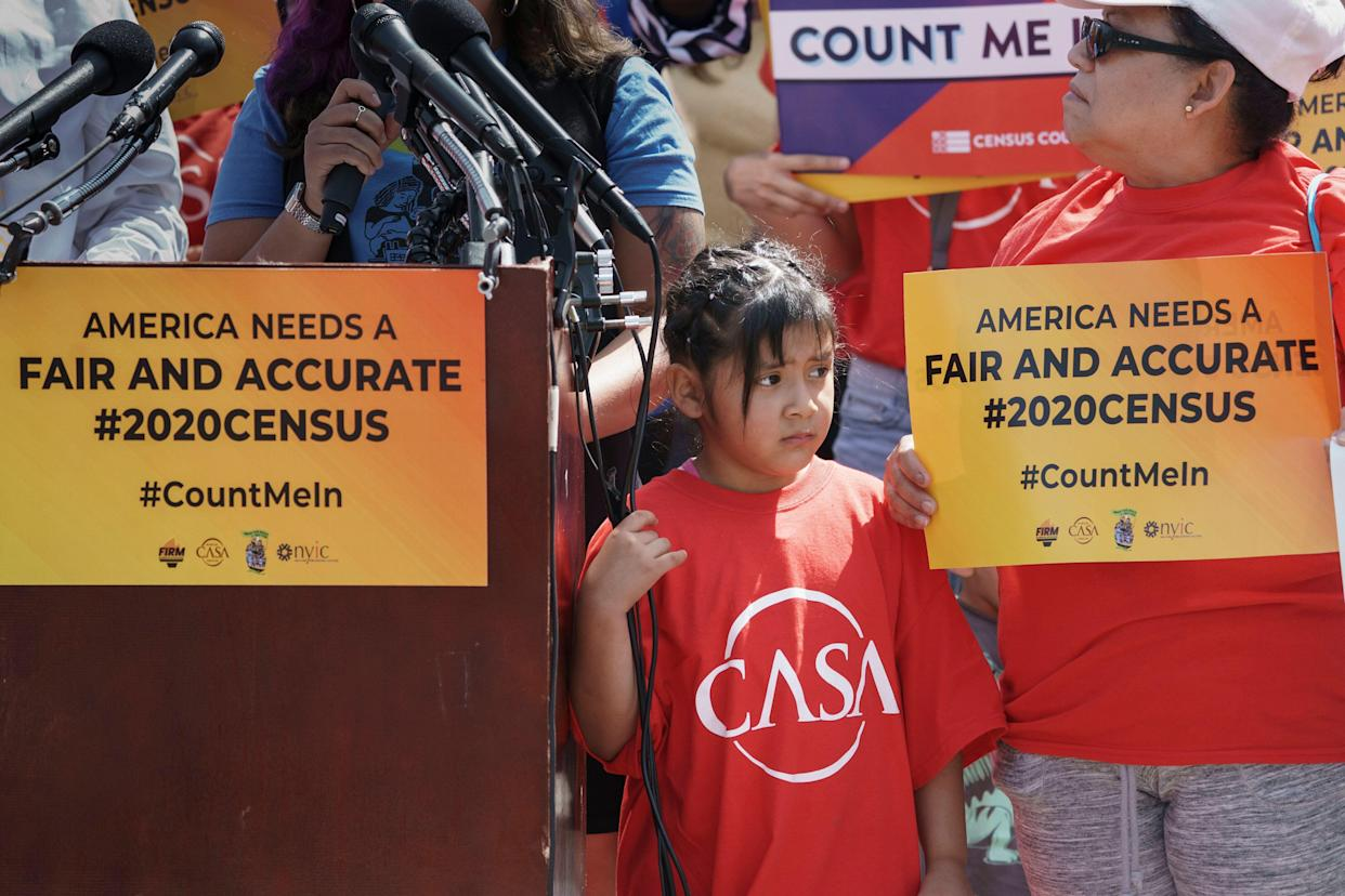 Immigration activists rally outside the Supreme Court in Washington, D.C., on April 23, 2019, as the justices hear arguments over the Trump administration's plan to ask about citizenship on the 2020 census. (Photo: J. Scott Applewhite/AP)
