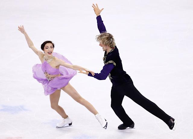 BOSTON, MA - JANUARY 11: Meryl Davis and Charlie White skate in the free dance program during the 2014 Prudential U.S. Figure Skating Championships at TD Garden on January 11, 2014 in Boston, Massachusetts. (Photo by Jared Wickerham/Getty Images)