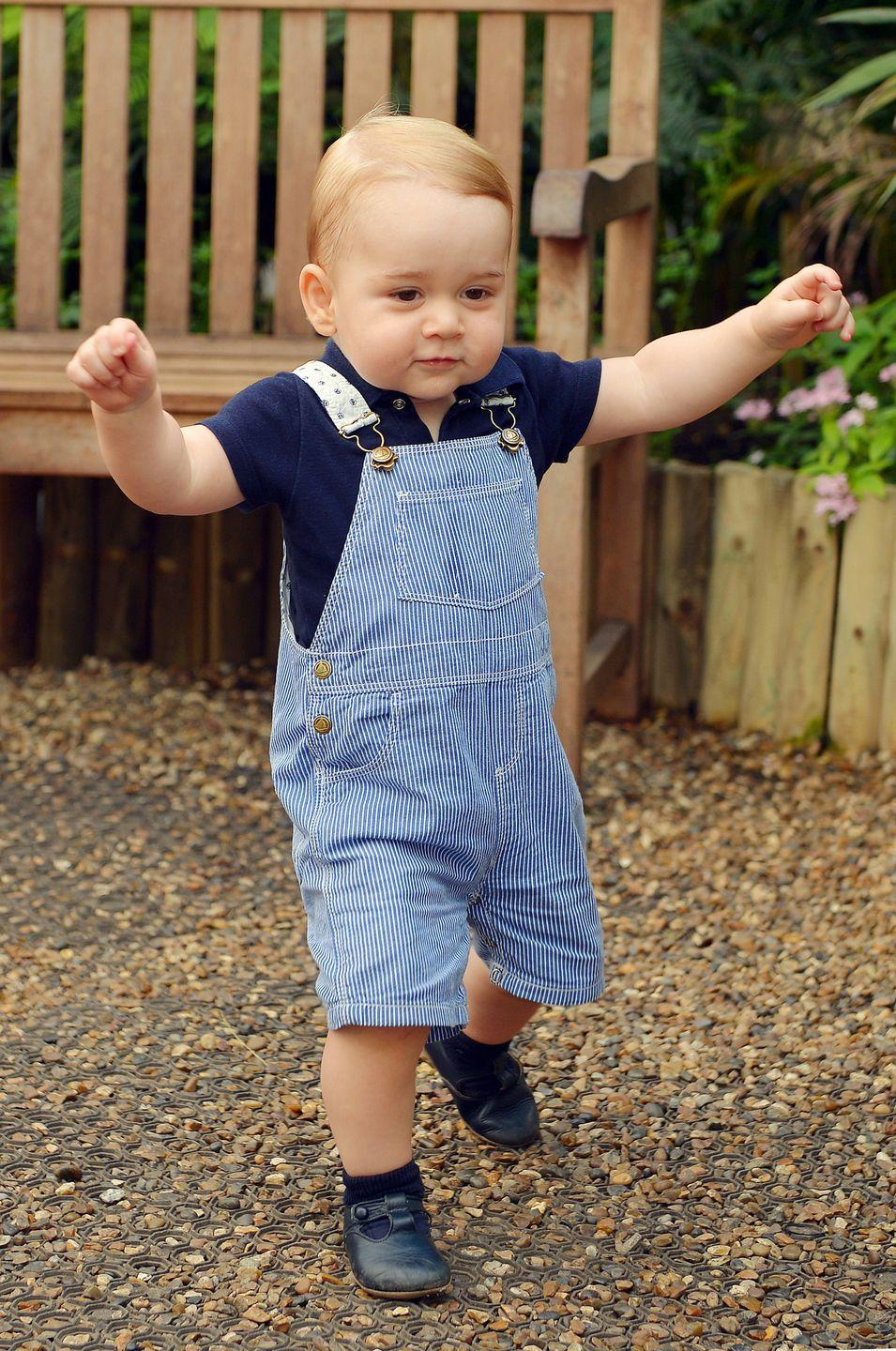 <p>Prince George sports a stylish pair of overalls in a photo released to celebrate his first birthday. The photo was taken at the Sensational Butterflies exhibition at the Natural History Museum in London.</p>