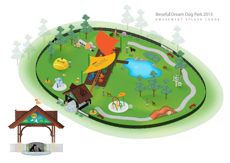 This illustration released by Beneful shows the design for the Beneful Dream Dog Park in Lancaster Pa. The doggy amusement park with a tennis ball tree and a 40-foot roller coaster bridge, opens Aug. 6. (AP Photo/Beneful)