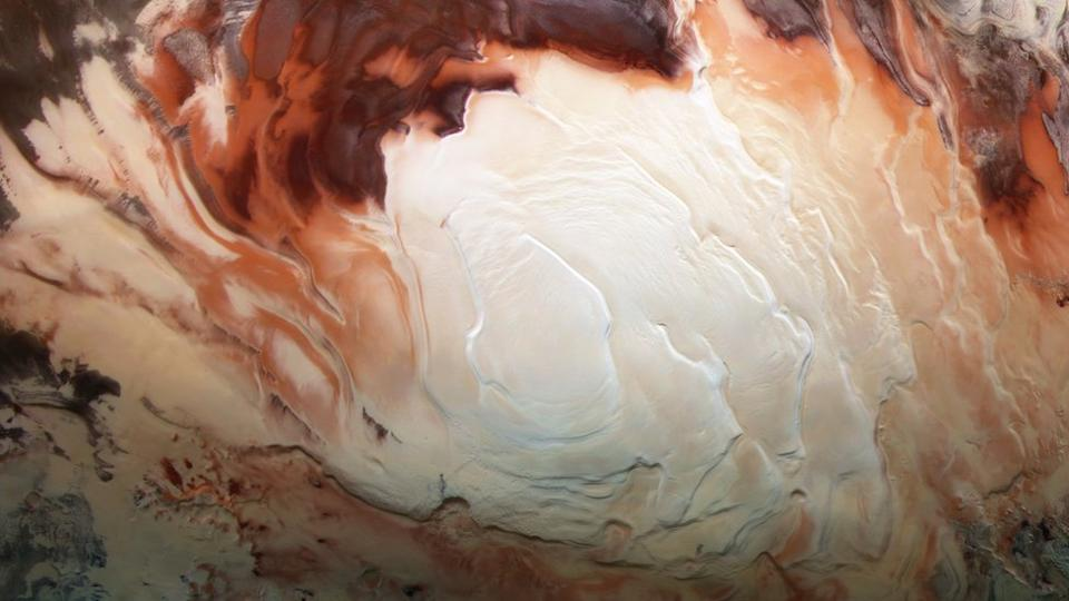 The putative bodies of liquid water were discovered under the south polar cap of Mars