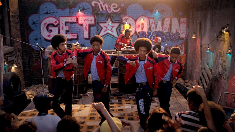 """<p>In the 1970s, a group of determined Bronx teenagers set out to chase down their hip-hop dreams, no matter what it takes. </p> <p><a href=""""http://www.netflix.com/title/80025601"""" class=""""link rapid-noclick-resp"""" rel=""""nofollow noopener"""" target=""""_blank"""" data-ylk=""""slk:Watch The Get Down on Netflix"""">Watch <strong>The Get Down</strong> on Netflix</a>.</p>"""