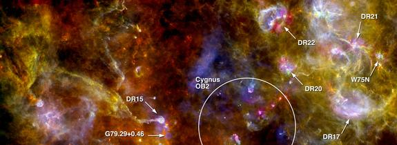 An annotated picture of the region Cygnus-X, highlighting numerous dense sites of new star formation in the right-hand complex, and the swan-like structure in the left-hand portion of the scene. The image was taken by the European Space Agency'