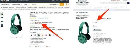 Websites showing different prices for 50 Cent headphones