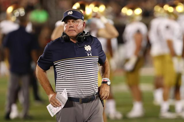 If Notre Dame is really progressing like Brian Kelly says, Saturday's showdown at Georgia is a great chance to prove it. (Getty)