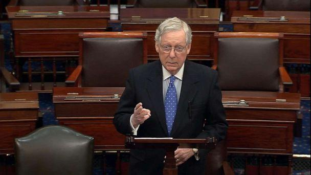 PHOTO: Senate Majority Leader Mitch McConnell speaks on the Senate floor, Dec. 19, 2019, the day after the House vote to impeach President Donald Trump. (ABC News)