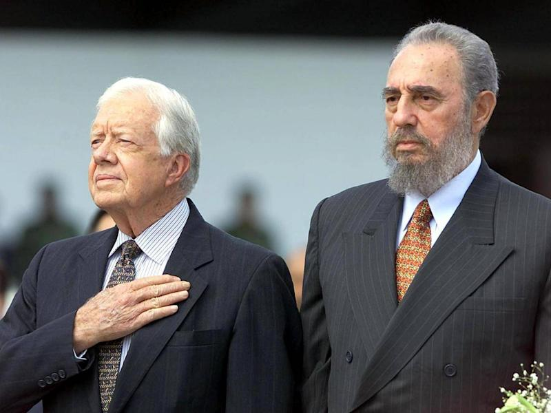 Former US president Jimmy Carter and Cuban president Fidel Castro in Havana in 2002 (AFP/Getty)