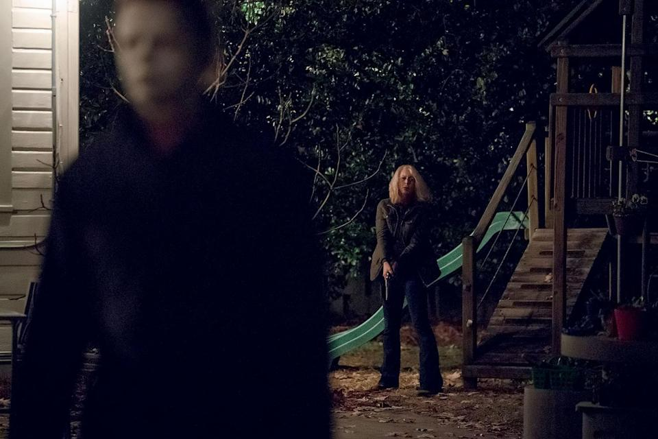 Laurie Strode (Jamie Lee Curtis) takes on The Shape once again in <i>Halloween</i> (Universal Pictures)