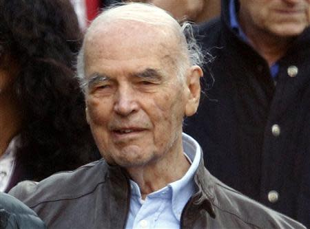 File photo of convicted former Nazi SS captain Erich Priebke leaving after attending a mass at a church in northern Rome October 17, 2010. REUTERS/Alessandro Bianchi/Files