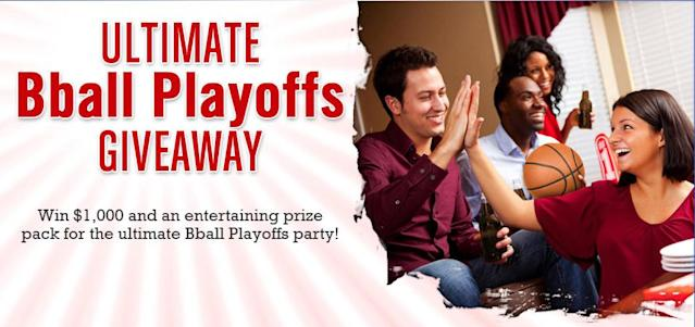 Ultimate couch potato party. The blog site She Knows knows to make it simple: Enter your email through March 31 for a crack at $1,000 in its Ultimate BBall Playoffs Giveaway.