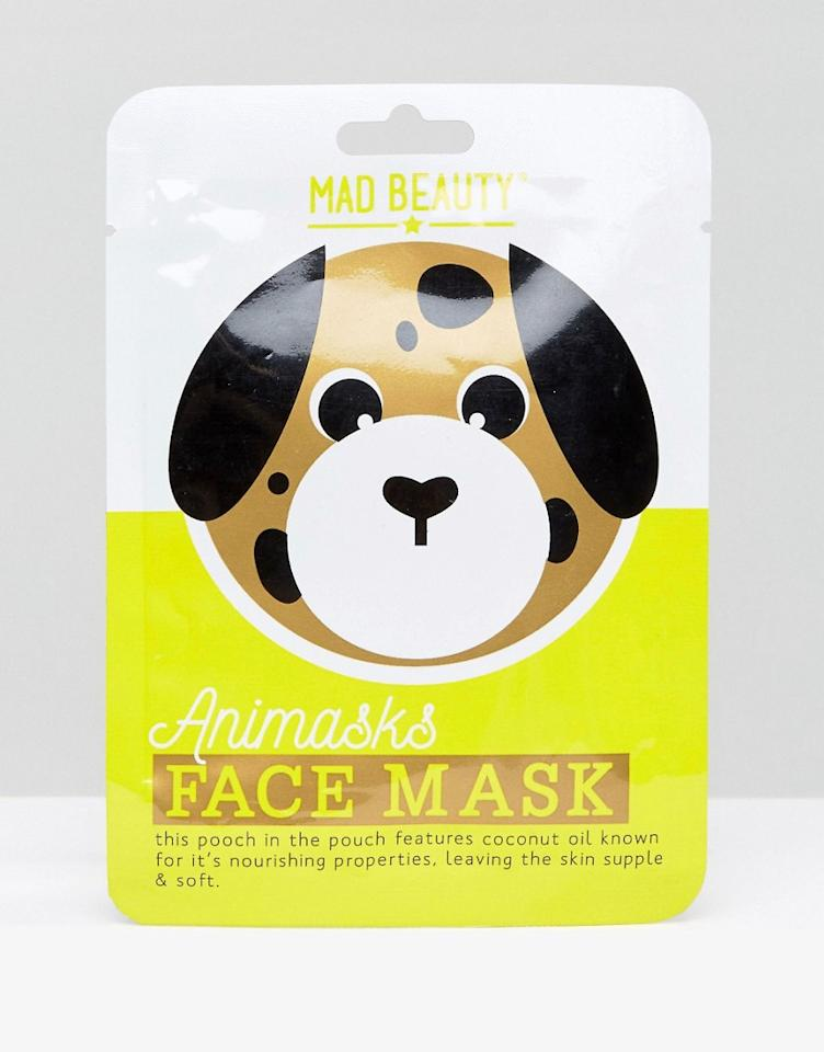 <p>If you thought that sheet masks look too much like a villain from a horror film, ASOS have got costume versions. This dog sheet mask, actually looks like a dog's face! Also avalailable in Panda and Tiger designs, this mask is enriched with nourishing coconut oil to leave skin supple and soft.<br /> Buy here </p>