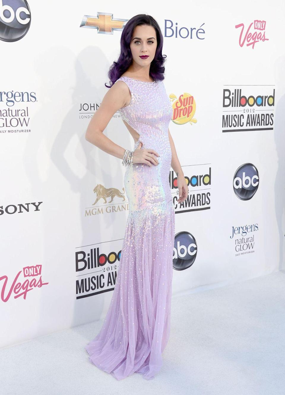 <p>Katy Perry reminded us of Ariel's sparkly look at the 2012 Billboard Music Awards, in a Blumarine gown covered in sequins.</p>