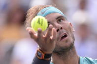 Spain's Rafael Nadal serves to Russia's Daniil Medvedev during the final of the Rogers Cup tennis tournament in Montreal, Sunday, Aug. 11, 2019. (Paul Chiasson/The Canadian Press via AP)