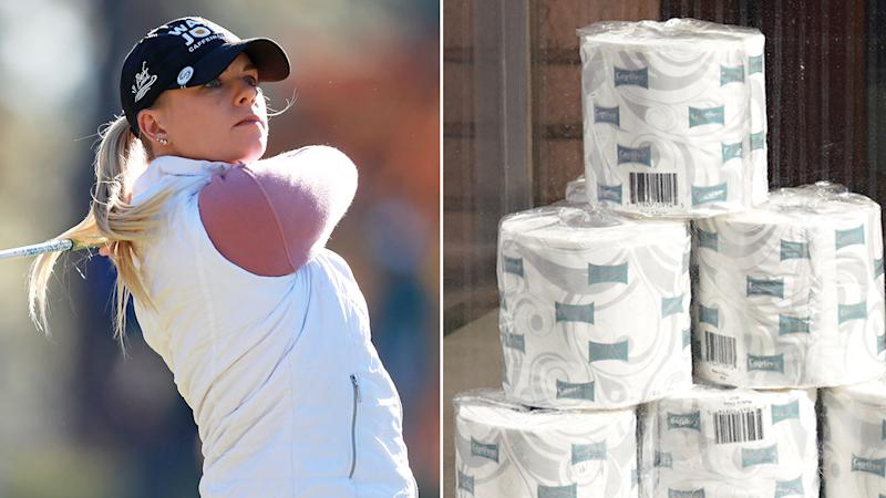 Pictured here, Sarah Burnham won toilet paper after a recent tournament victory.